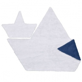 Alfombra Lorena Canals Algodón Barquito Reversible White - Navy + Little Piece 120 x 160