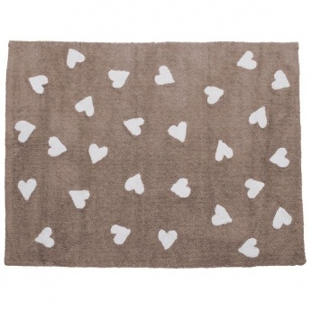 Alfombra Lorena Canals Algodón Linen Hearts White 120X160
