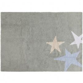 Alfombra Lorena Canals Algodón Tres Estrellas Tricolor Grey - Blue 120X160