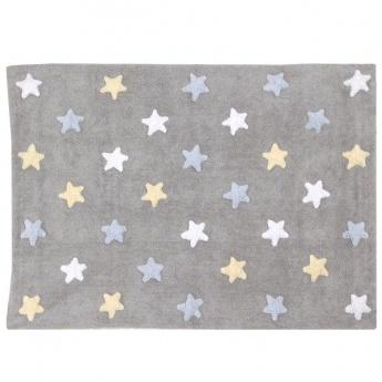 Alfombra Lorena Canals Algodón Tricolor Stars Grey - Pink 120x160